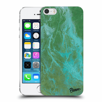 Picasee Apple iPhone 5/5S/SE Hülle - Transparentes Silikon - Green marble