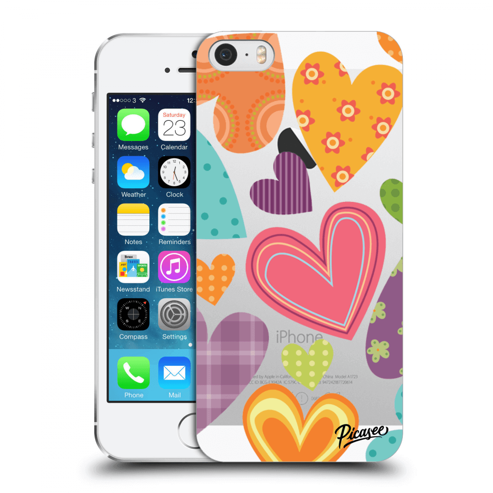 Picasee Apple iPhone 5/5S/SE Hülle - Transparentes Silikon - Colored heart