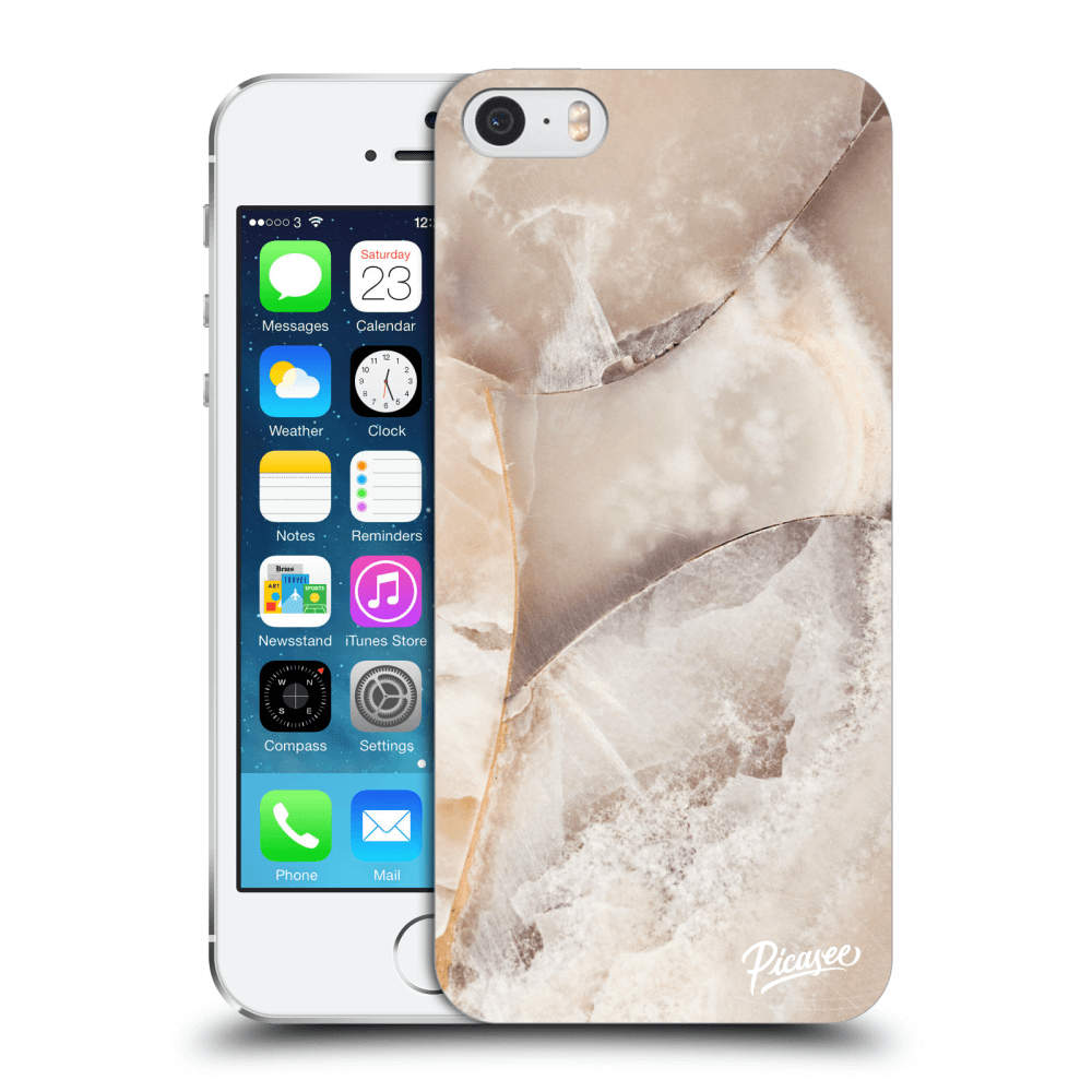 Picasee Apple iPhone 5/5S/SE Hülle - Transparentes Silikon - Cream marble