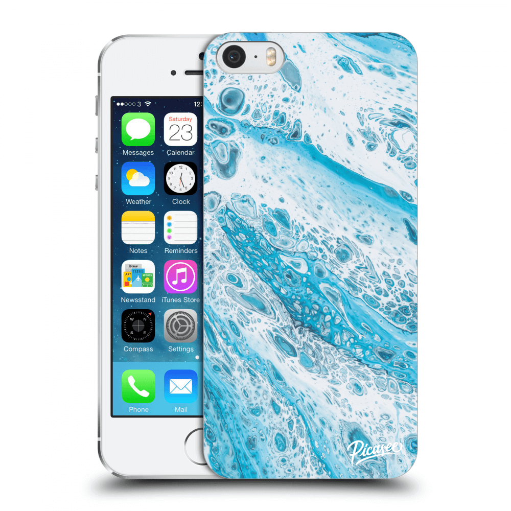 Picasee Apple iPhone 5/5S/SE Hülle - Transparenter Kunststoff - Blue liquid