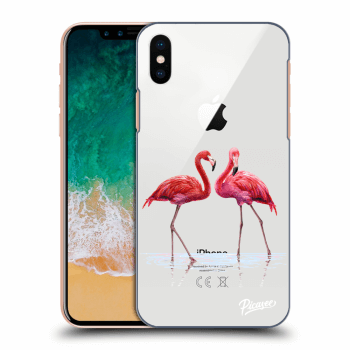 Hülle für Apple iPhone X/XS - Flamingos couple