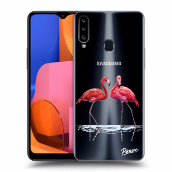 Hülle für Samsung Galaxy A20s - Flamingos couple