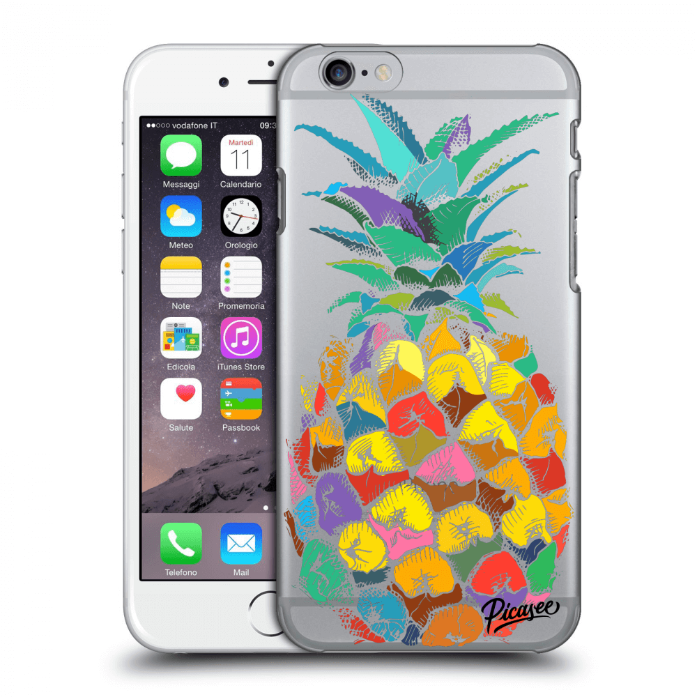 Picasee Apple iPhone 6/6S Hülle - Transparentes Silikon - Pineapple