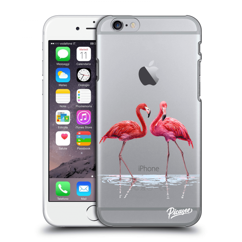 Picasee Apple iPhone 6/6S Hülle - Transparentes Silikon - Flamingos couple