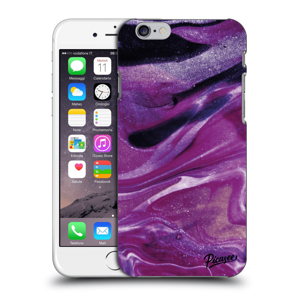 Picasee Apple iPhone 6/6S Hülle - Transparentes Silikon - Purple glitter