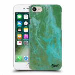Picasee Apple iPhone 7 Hülle - Transparentes Silikon - Green marble