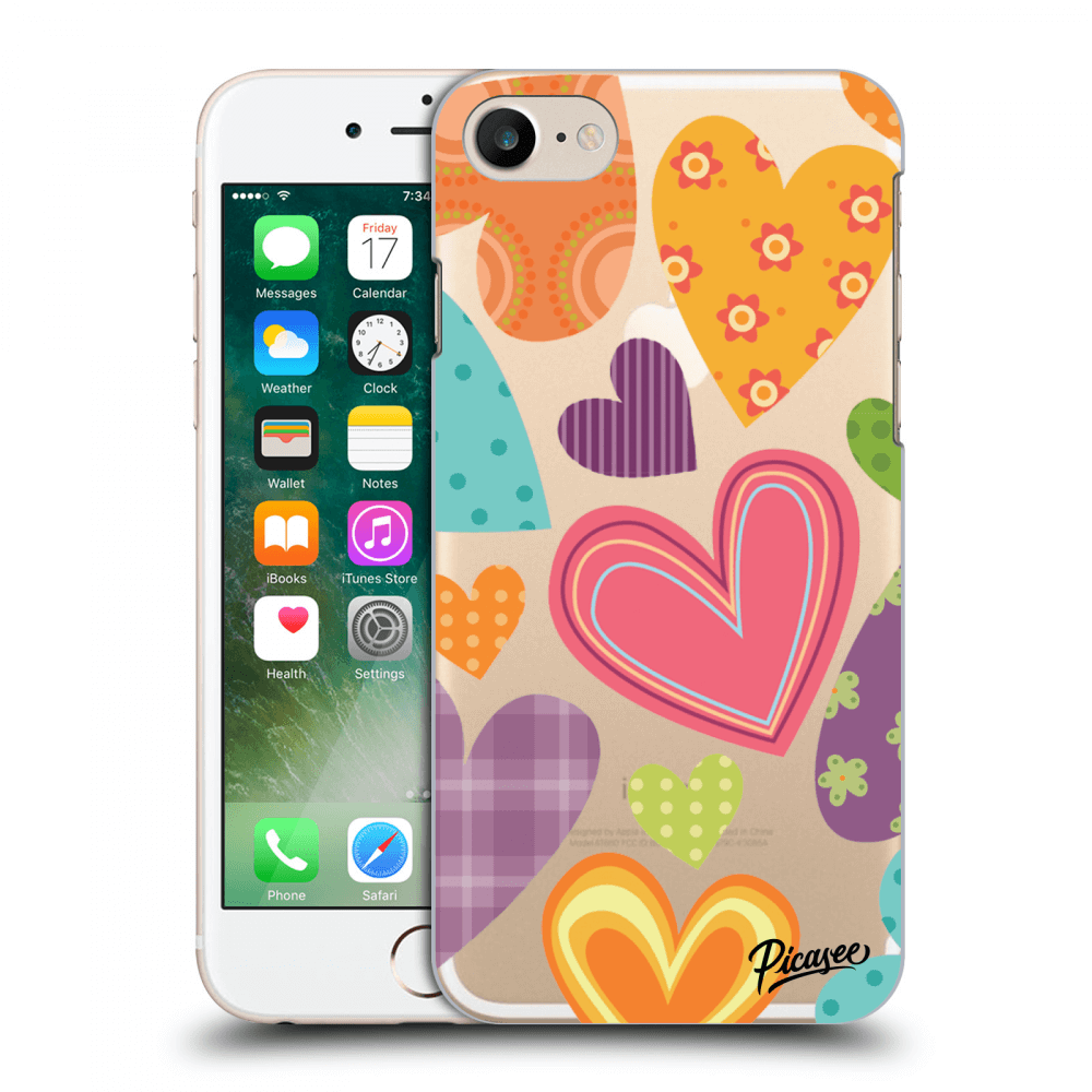 Picasee Apple iPhone 7 Hülle - Transparentes Silikon - Colored heart